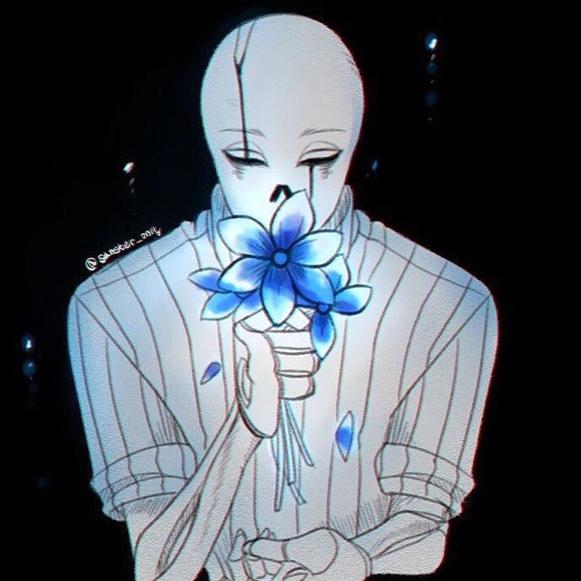Gaster!Sans smelling some Echo Flowers - undertale Photo