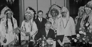 Harold Ickes and members of the Confederated Tribes of the Flathead Indian Reservation in Montana