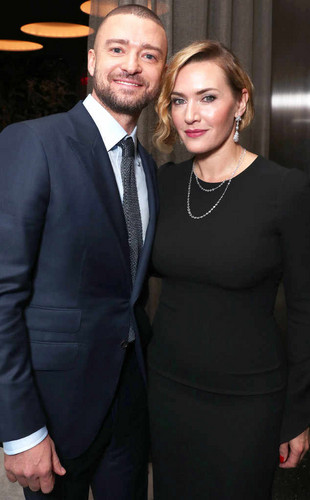 Kate Winslet wallpaper titled Kate with her Wonder Wheel co-star Justin Timberlake at the NY premiere