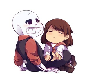 Lil Pup!Frisk and Undertale Mob!Sans the Skeleton