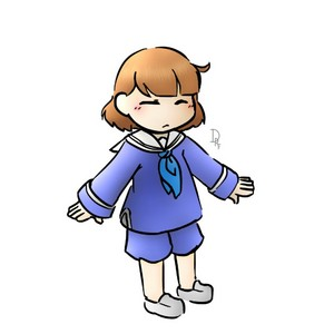 Lil Pup!Frisk in her Usual Clothes