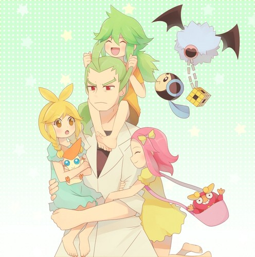 N(pokemon) kertas dinding titled Little N and his Family