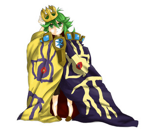 Little N wearing Ghetsis' mantel