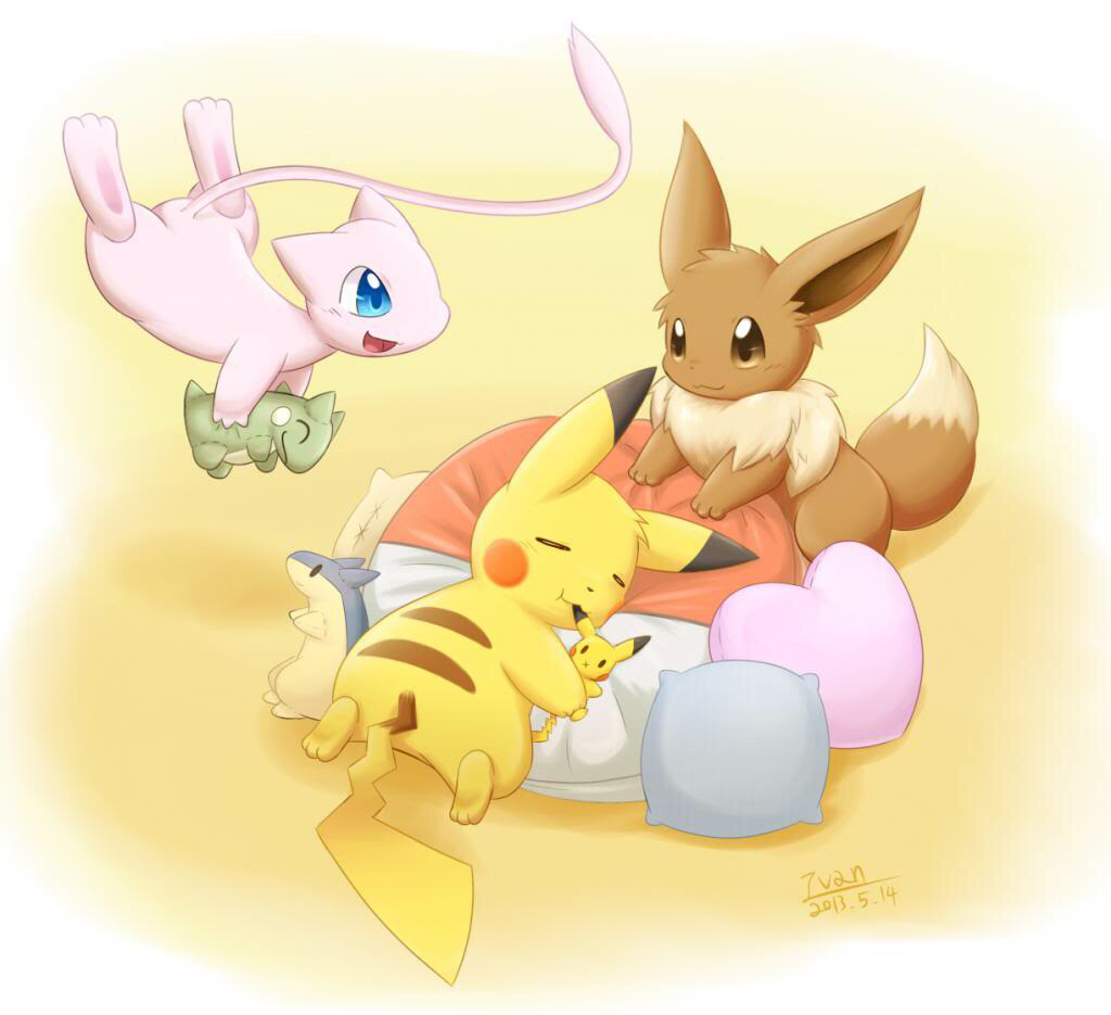 Mew, Eevee, and Pikachu in a Play Room