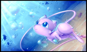 Mew Playing with Bubbles