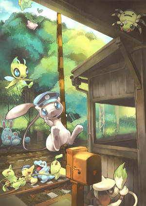 Mew and Several Pokemon at a Train Station