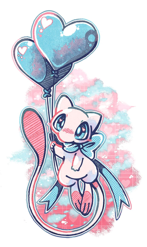 Mew with Heart Balloons