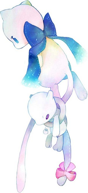 Mew with a Mewtwo Plushie