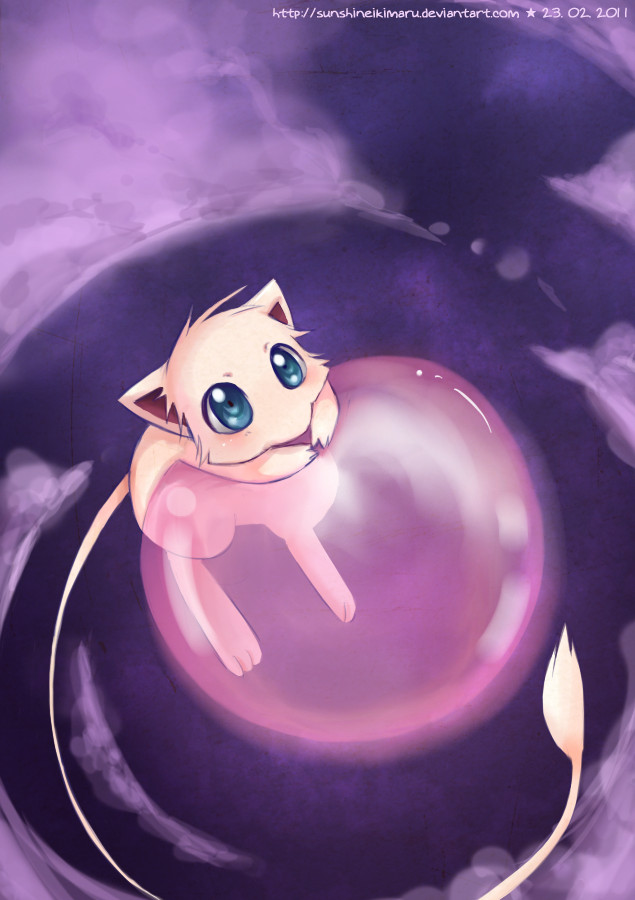 Mew with a rosa Bubble