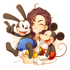 Michael with Mickey and Oswald