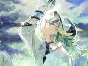 N Harmonia looking at his ネックレス