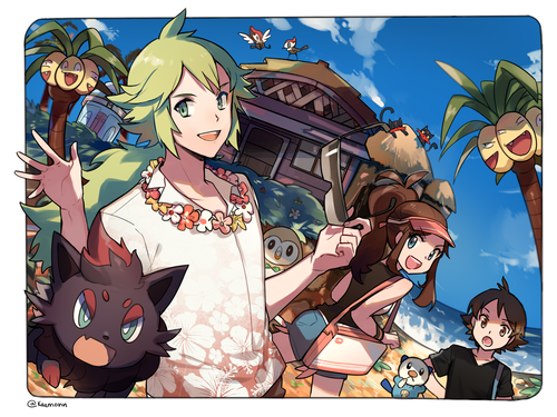 N(pokemon) wallpaper titled N, Hilda, and Hilbert Vacationing in Alola