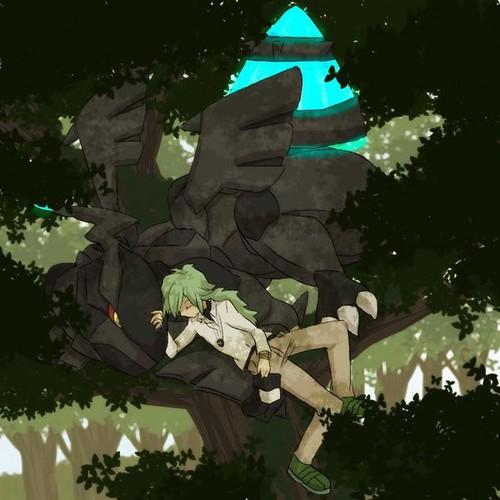 N(pokemon) wallpaper entitled N Harmonia Napping Alongside his Zekrom