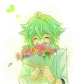 Prince N Smelling a Bouquet of Flowers