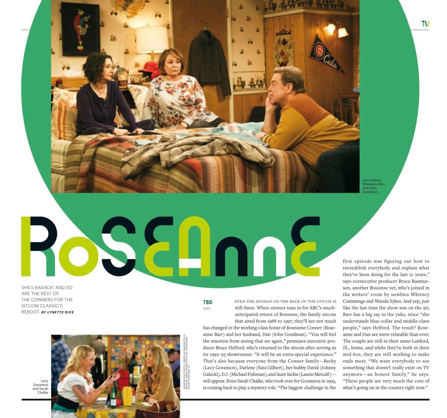 Roseanne Revival in Entertainment Weekly - December 2017