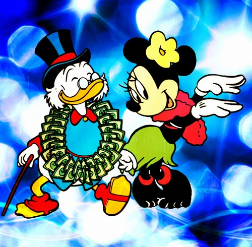 Childhood Animated Movie Heroes wallpaper called Scrooge and Minnie