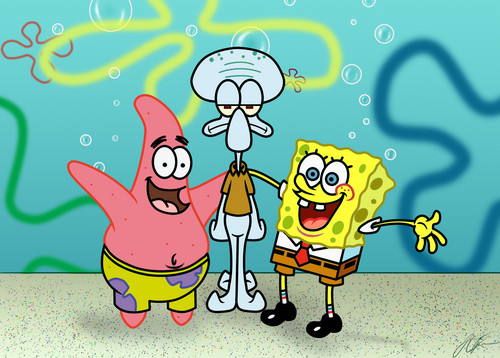 Spongebob Squarepants kertas dinding entitled Spongebob, Patrick and Squidward