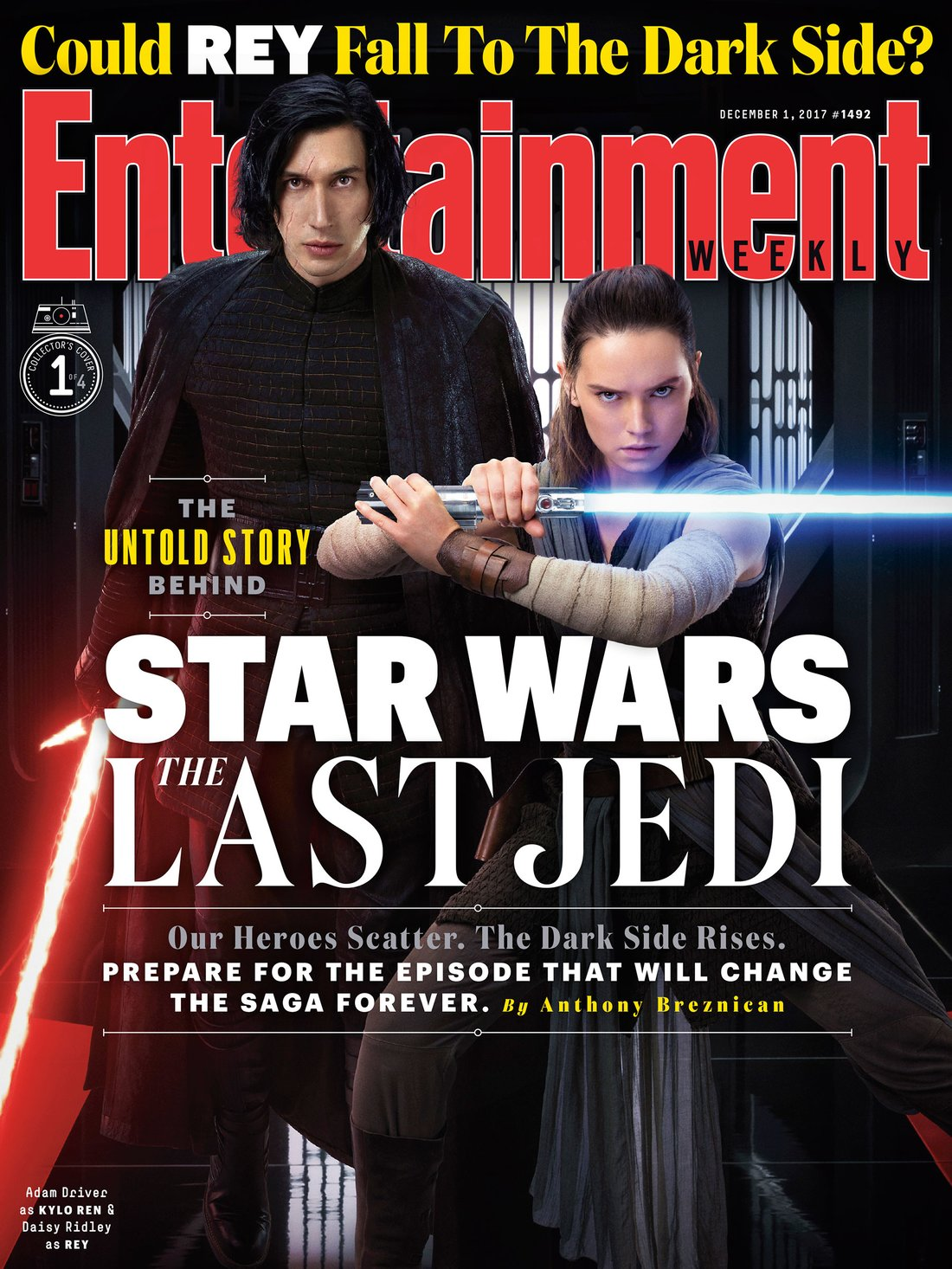 stella, star Wars The Last Jedi - Kylo Ren and Rey Entertainment Weekly Cover
