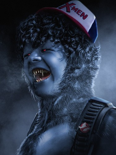 Stranger Things Обои entitled Stranger Things Turned into 'X-Men' Герои and Villains - Dustin as Beast