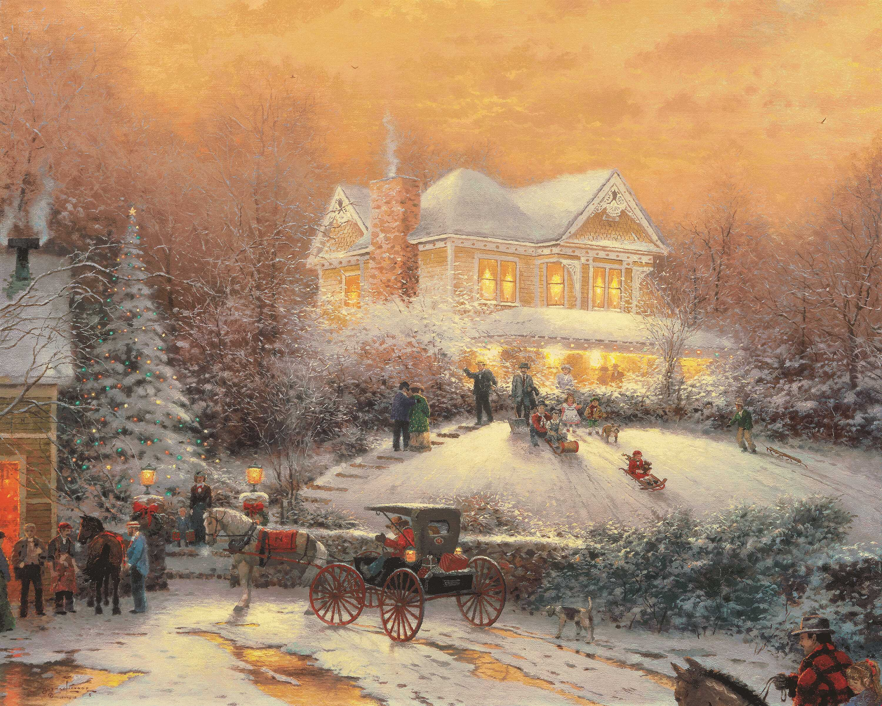 Christmas Images Thomas Kinkade Christmas Hd Wallpaper And