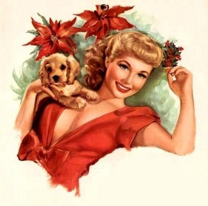 Vintage Krismas Pin Up Girl