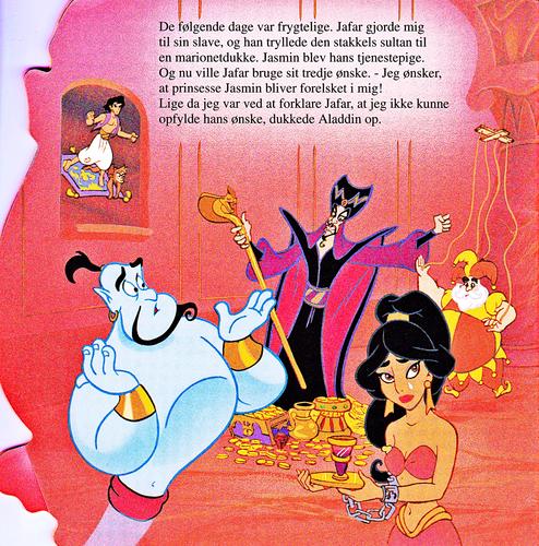 personaggi Disney wallpaper titled Walt Disney Book Scans – Aladdin: The Genie's Story (Danish Version)