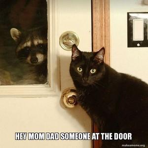 hey mom dad someone at the door