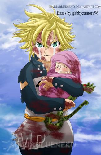 Nanatsu No Taizai achtergrond called *Meliodas Protecting Baby Elizabeth: Nanatsu No Taizai*