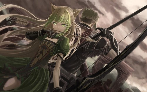 Fate Series kertas dinding titled Achilles And Atalanta (Rider And Archer Of Red)