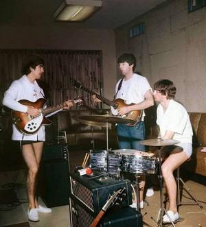 Beatles rehearsing