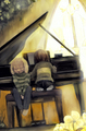 Chara Playing the piano while Asriel Listens
