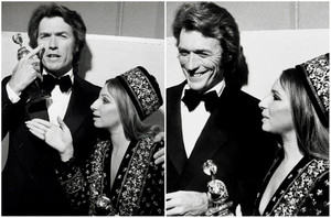 Clint Eastwood and Barbra Streisand with their Golden Globes
