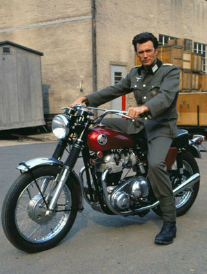Clint Eastwood on his Triumph motorcycle on the set of Where Eagles Dare 1968