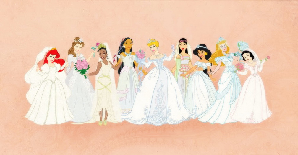Disney Females Bilder Disney Princess Wedding Dresses Line Up HD ...