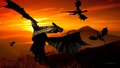 Dragon Sunset 1a  - dragons wallpaper