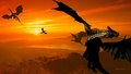 Dragon Sunset - dragons wallpaper