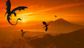 Dragons in Sunset 1 - dragons wallpaper