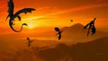 Dragons in Sunset 1a - dragons wallpaper