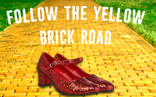 Image result for yellow brick road banner of the wizard of oz