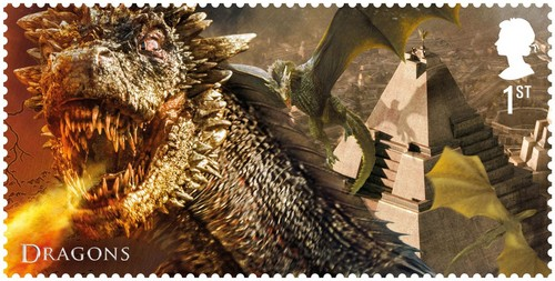 laro ng trono wolpeyper titled Game of Thrones Stamps - Dragons