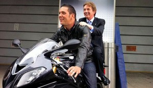 George Stroumboulopoulos with Martin Short on Bike