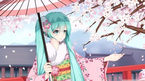 Vocaloids achtergrond titled Hatsune Miku