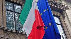 Italy and EU waving flags