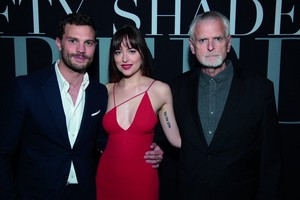 Jamie and Dakota Fifty Shades Freed L.A premiere with director James Foley
