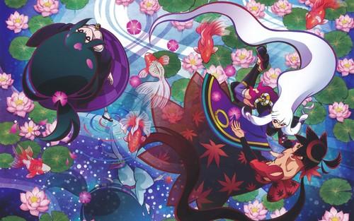 金魚が泳ぐ水とピンクの蓮の花の上に立つ鑢七花ととがめ、彼我木輪廻の刀語の壁紙