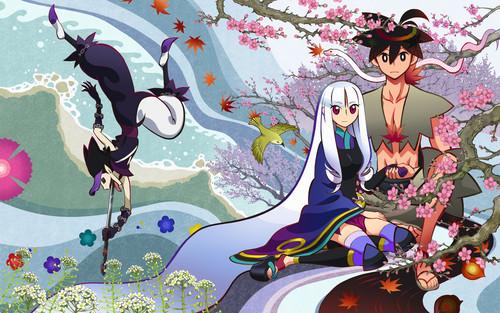 梅の花と鑢七花ととがめ、剣を飲み込む真庭蝙蝠の刀語の壁紙
