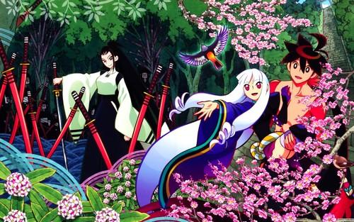 花と刀が並ぶ森の中の鑢七花ととがめ、敦賀迷彩の刀語の壁紙