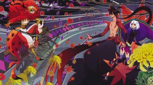 菊、紅葉、牡丹が舞う刀語の壁紙