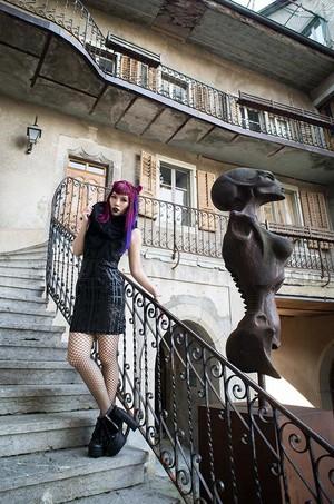 La Carmina at the HR Giger museum and bar. Gothic fashion blogger LaCarmina