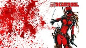 Lady  Deadpool Wallpaper - Blood Splatter